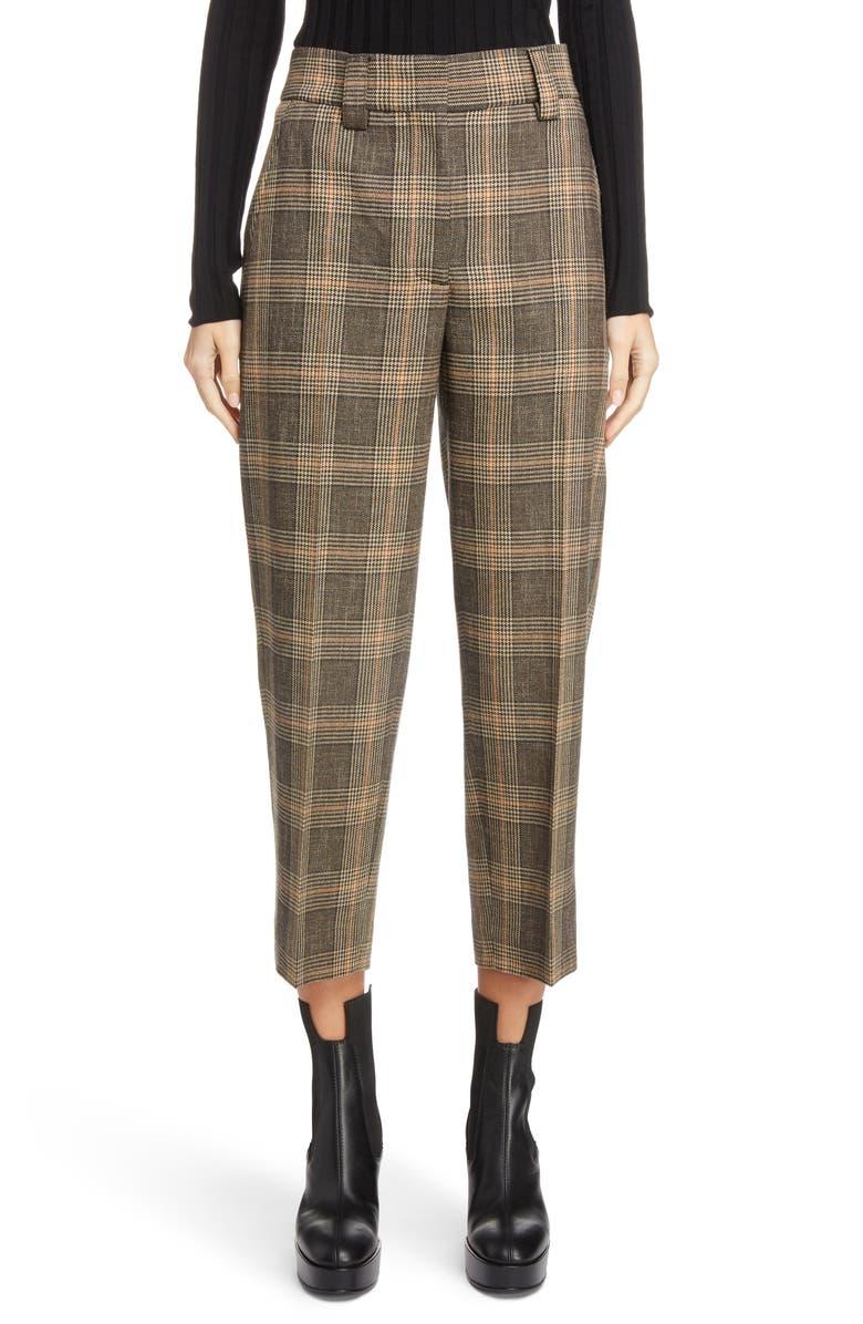 ACNE STUDIOS Check Crop Suit Pants, Main, color, 200
