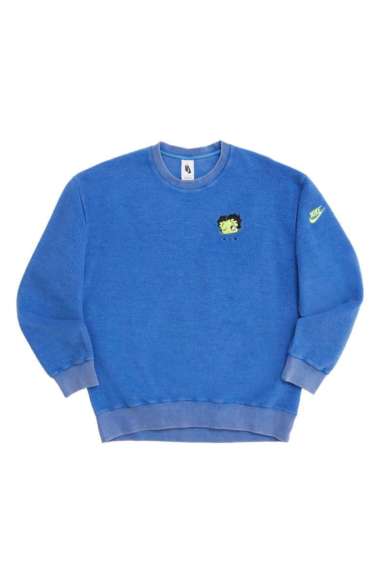 NIKE x Olivia Kim NRG Fleece Crewneck Sweatshirt, Main, color, GAME ROYAL