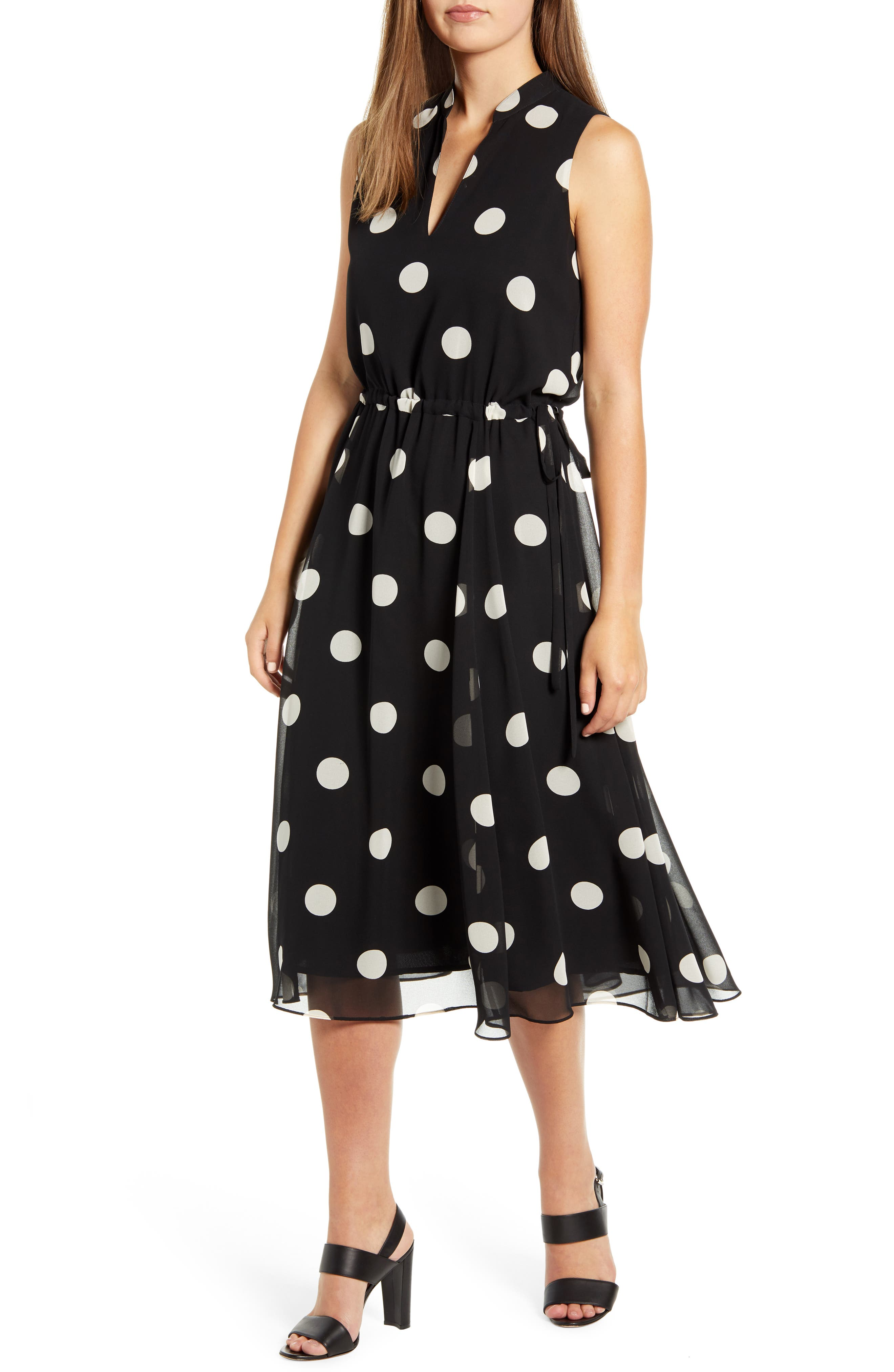 Anne Klein Deauville Dot Drawstring Dress, Black