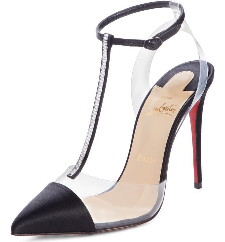 CHRISTIAN LOUBOUTIN Nosy Jewel Embellished T-Strap Pump, Main, color, 001