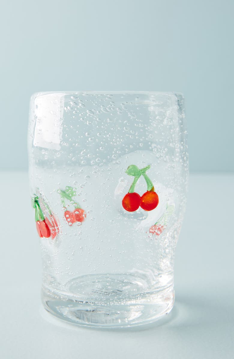 ANTHROPOLOGIE Gallion Juice Glass, Main, color, CHERRY