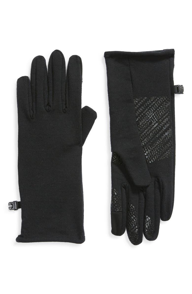 ICEBREAKER Quantum Touchscreen Compatible Merino Wool Gloves, Main, color, BLACK