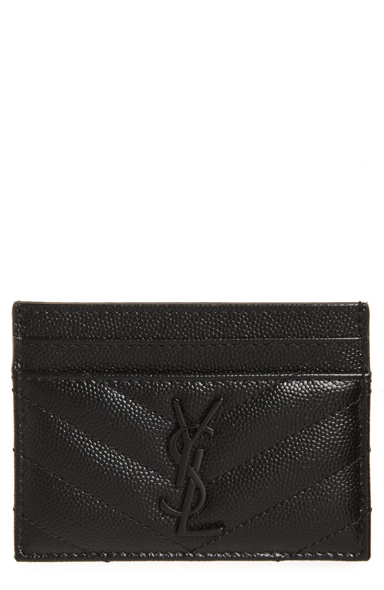 SAINT LAURENT Monogram Leather Card Case, Main, color, NOIR