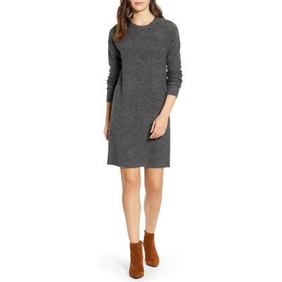 Petite Caslon Crewneck Long Sleeve Sweater Dress, Grey