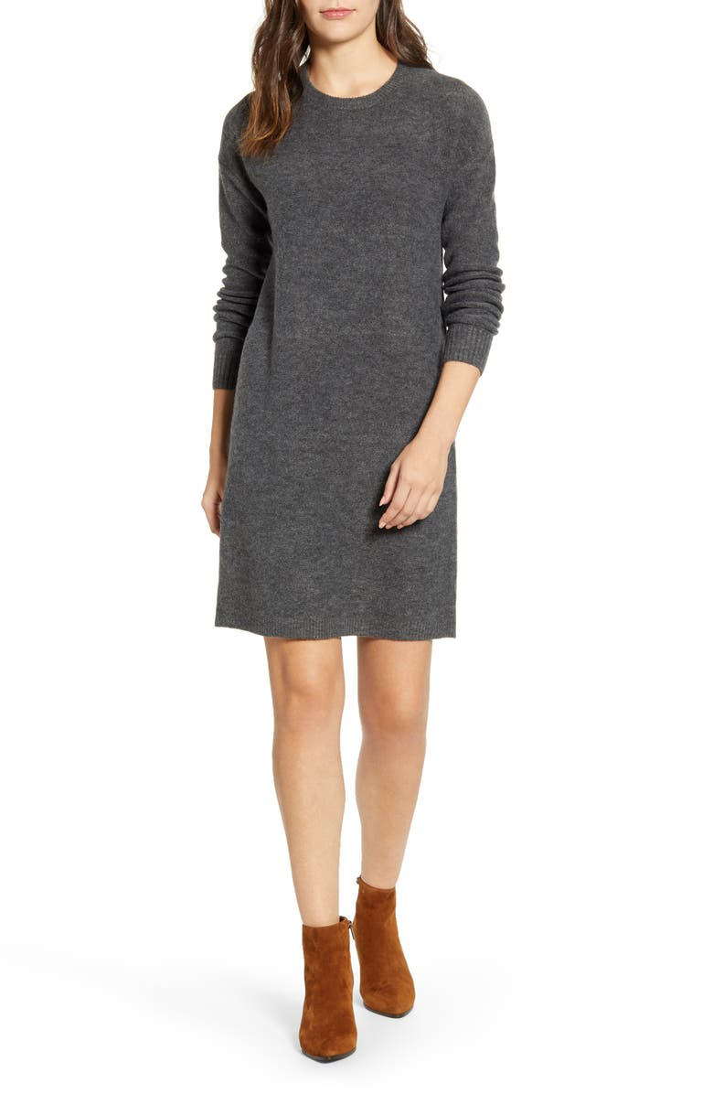 CASLON<SUP>®</SUP> Crewneck Long Sleeve Sweater Dress, Main, color, GREY CHARCOAL HEATHER