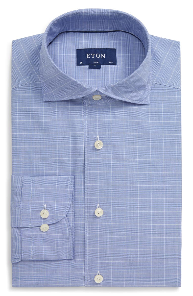 ETON Slim Fit Plaid Dress Shirt, Main, color, BLUE