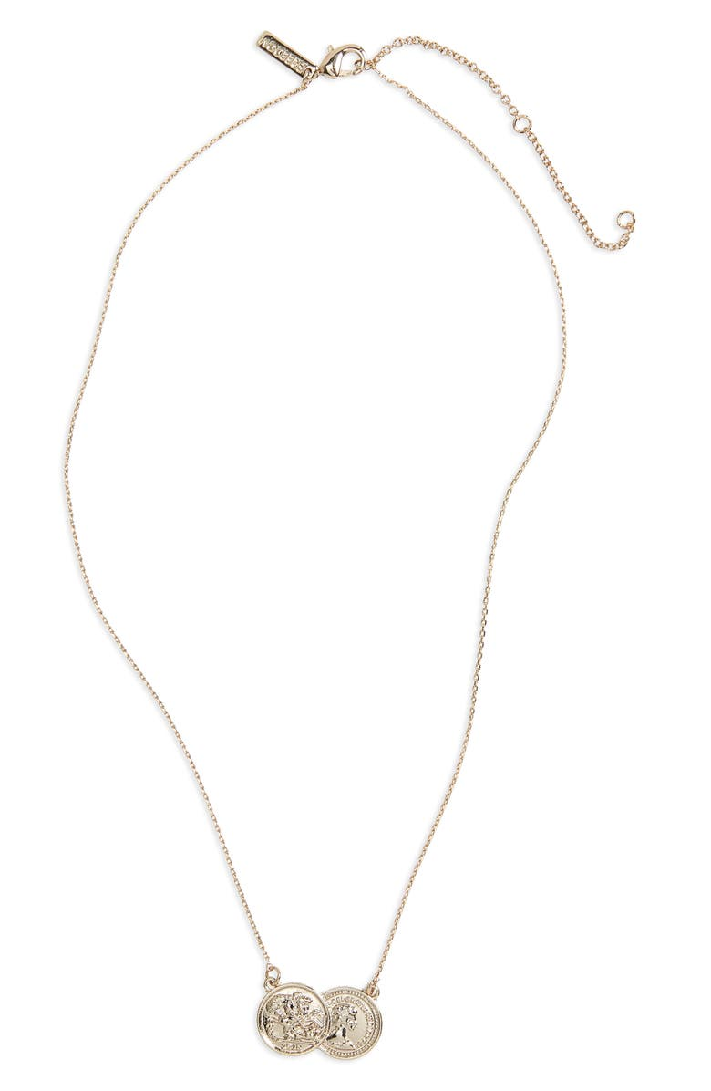 TOPSHOP Double Coin Ditsy Necklace, Main, color, 710
