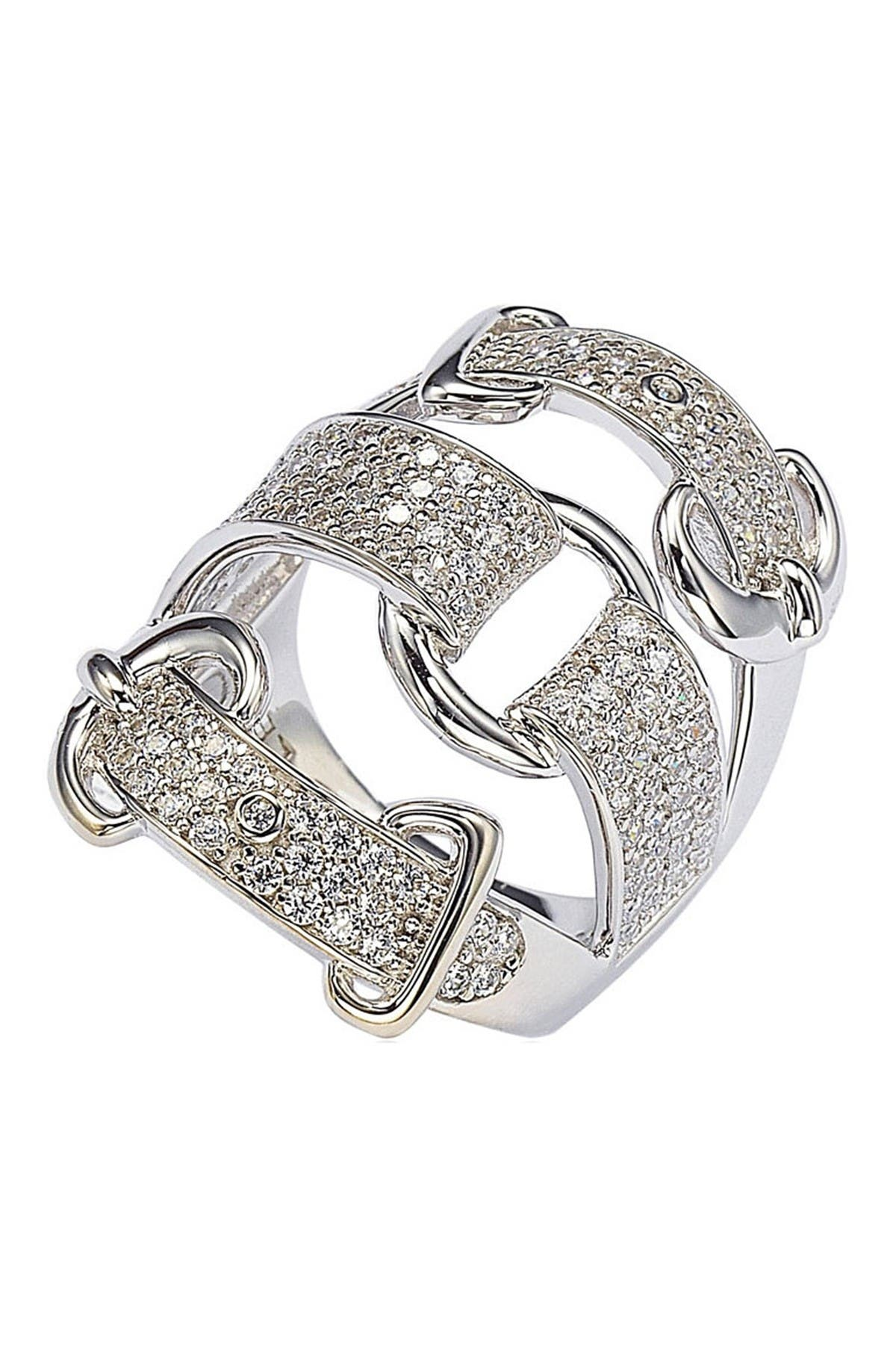 Image of Suzy Levian Sterling Silver CZ Triple Buckle Ring