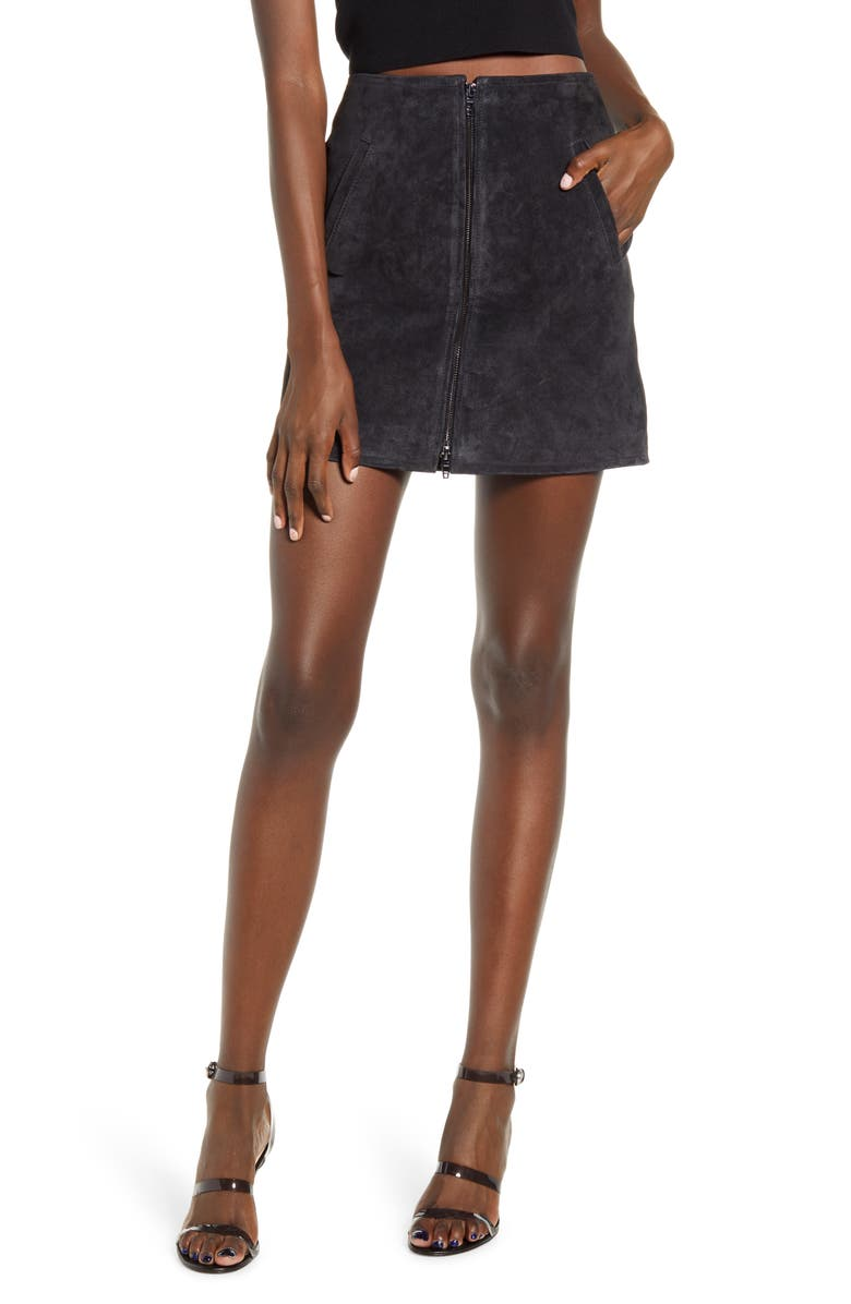 BLANKNYC Suede Miniskirt, Main, color, CARBON