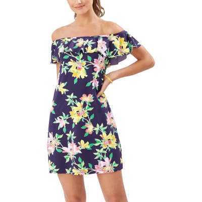 Tommy Bahama Sun Lilies Off The Shoulder Ruffle Spa Dress, Blue