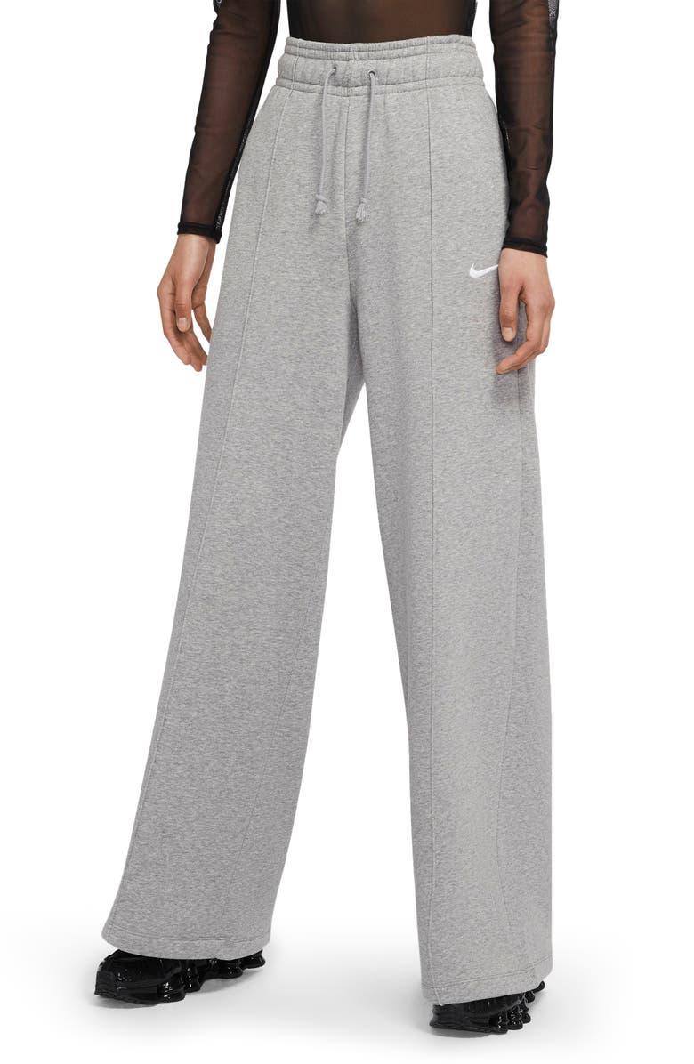 NIKE Sportswear Knit Palazzo Pants, Main, color, DARK GREY HEATHER/ WHITE
