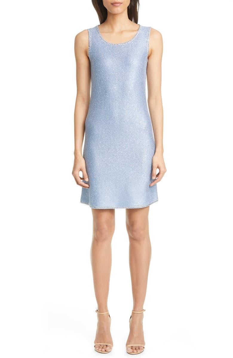 ST. JOHN EVENING Stud Trim Sequin Knit A-Line Minidress, Main, color, STEELY BLUE