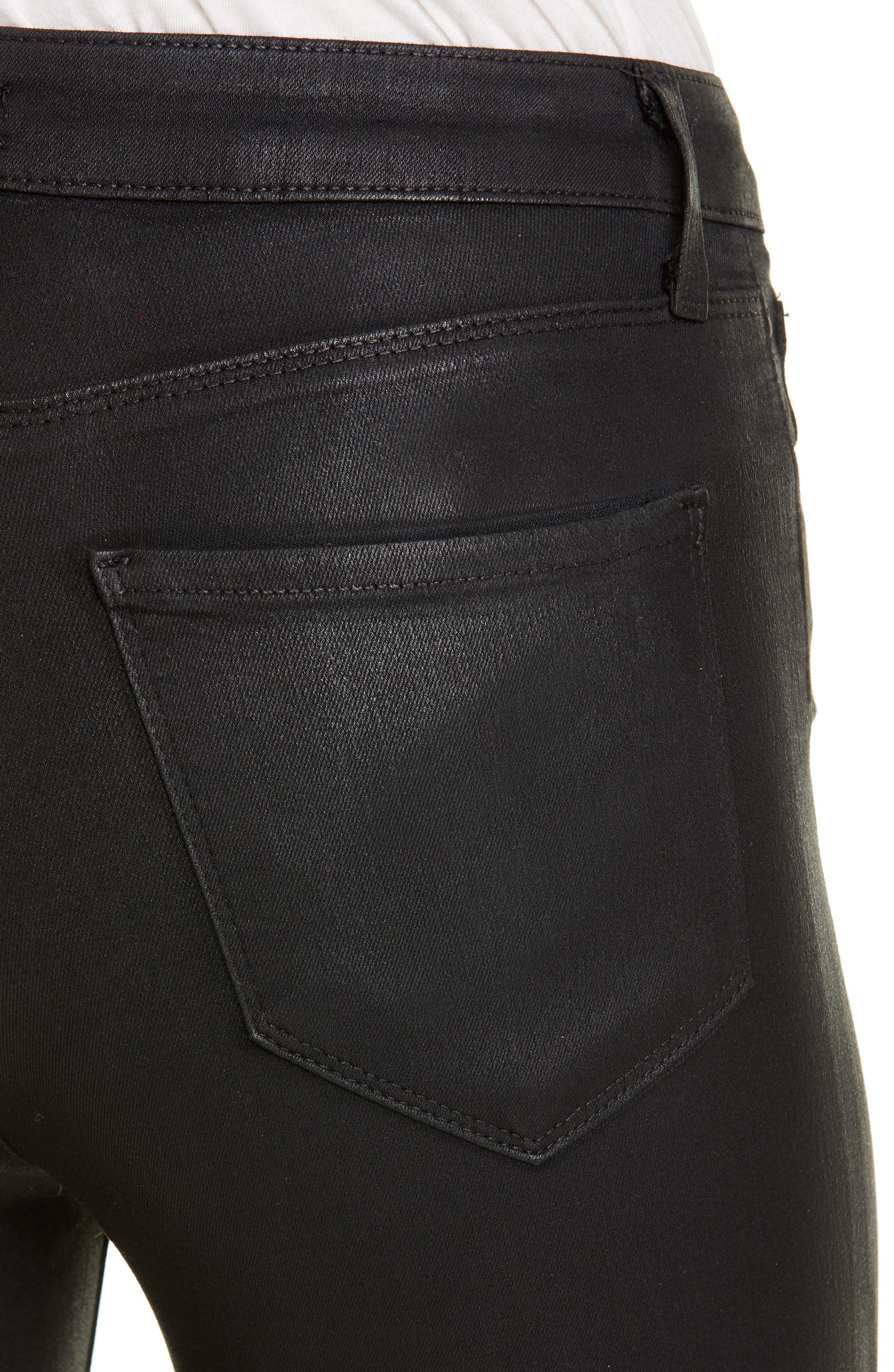 ,                             Coated High Waist Skinny Jeans,                             Alternate thumbnail 4, color,                             BLACK COATED