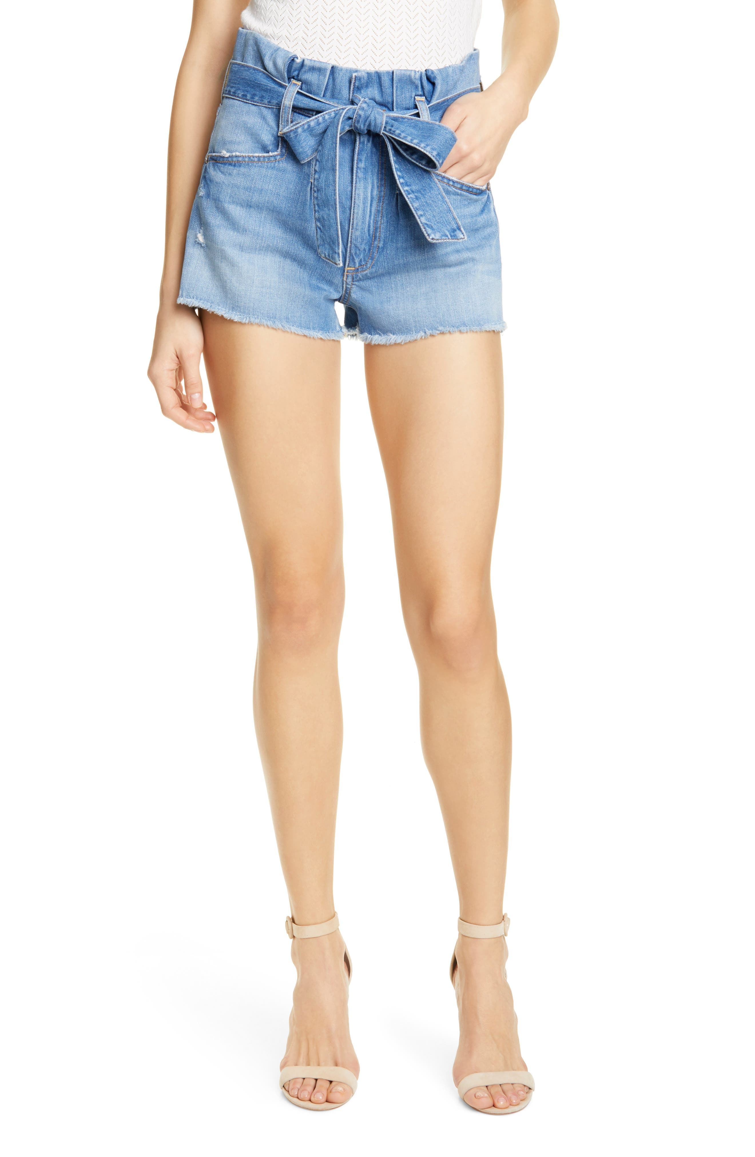 Women's Alice + Olivia Jeans Good Paperbag Waist Denim Shorts,  31 - Blue