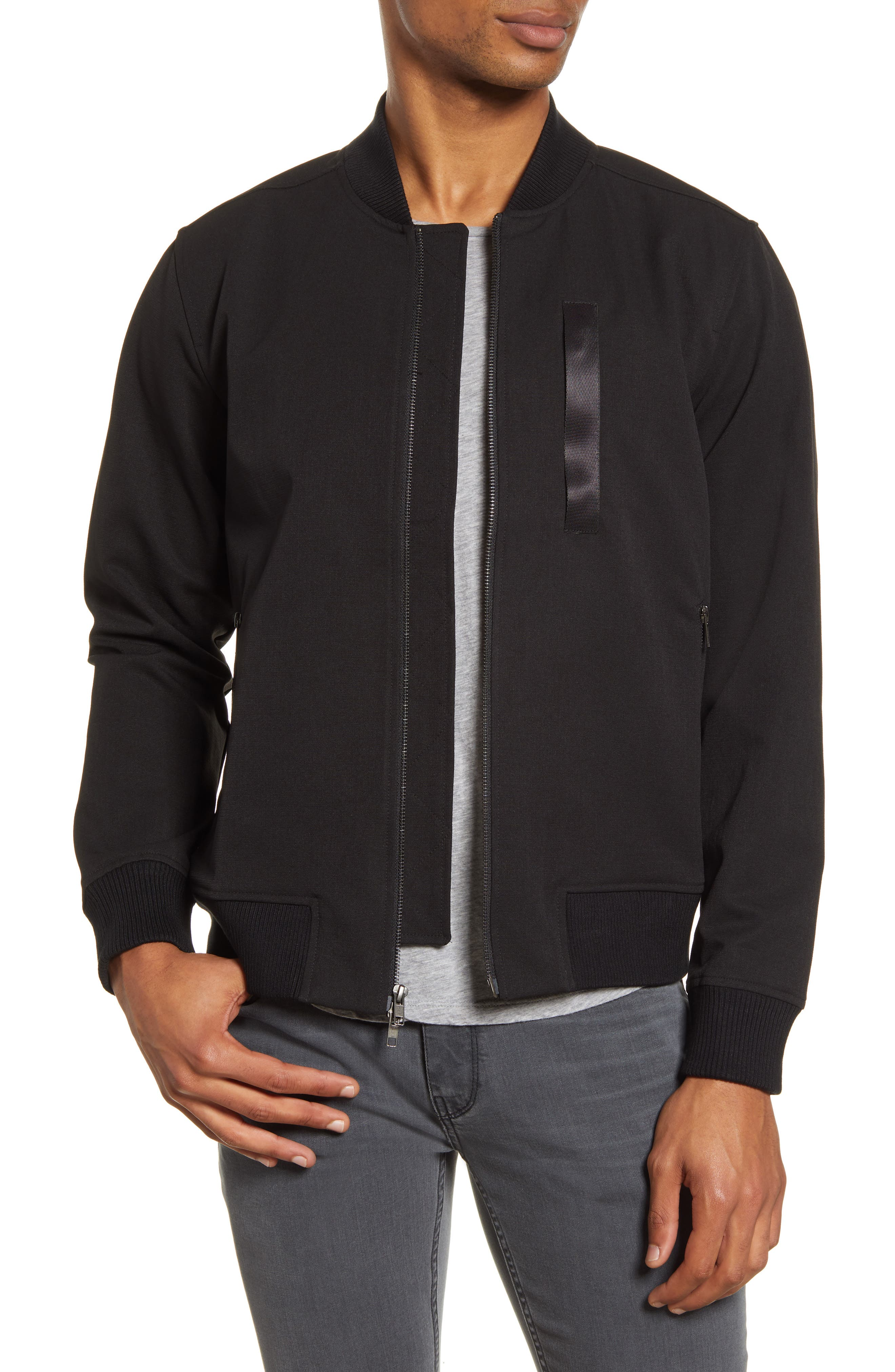 Image of ACYCLIC Slim Fit Covered Zip Bomber Jacket