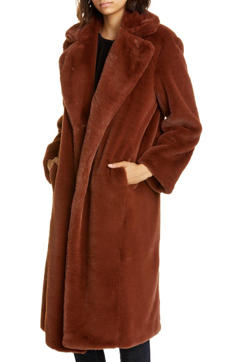 BA&SH Fibie Faux Fur Coat, Main, color, 200