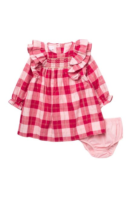 Image of GERSON & GERSON Checkered Ruffle Long Sleeve Dress & Bloomer Set
