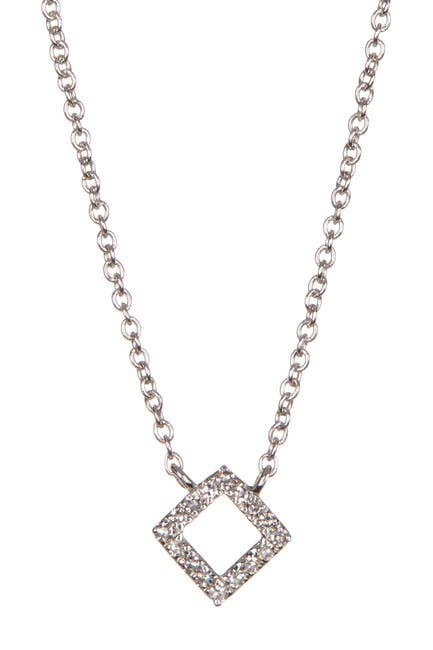 Image of Carriere Sterling Silver Pave Diamond Pendant Necklace - 0.05 ctw