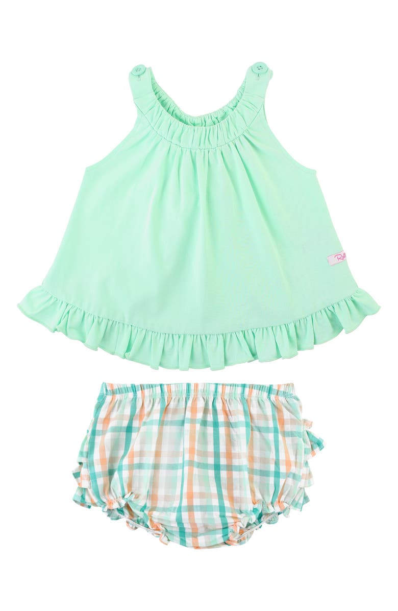 RUFFLEBUTTS Mint Swing Top & Ruffle Plaid Bloomers Set, Main, color, GREEN
