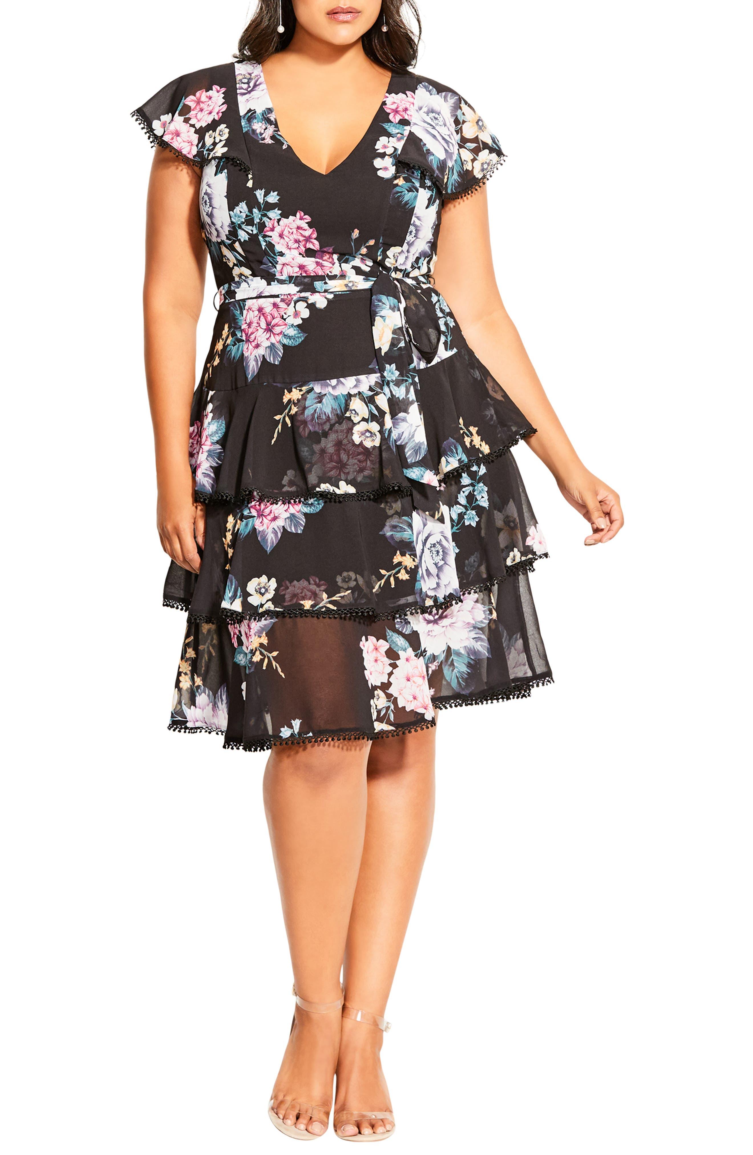 Summer Blooms Tiered Ruffle Dress