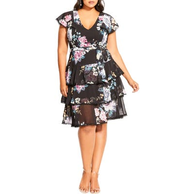 Plus Size City Chic Summer Blooms Tiered Ruffle Dress, Black