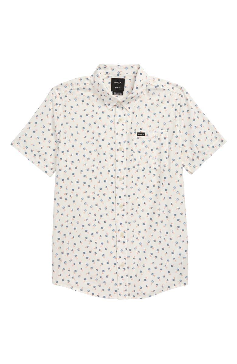 RVCA Prelude Floral Woven Shirt, Main, color, ANTIQUE WHITE