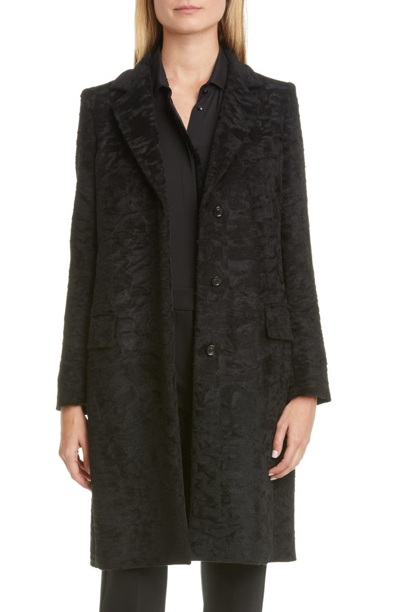 MAX MARA Oncia Textured Alpaca & Wool Coat, Main, color, BLACK