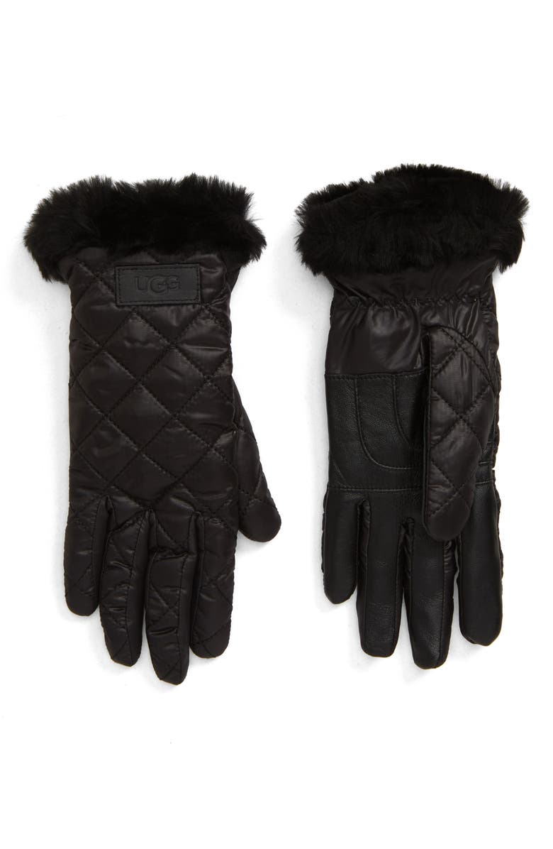 UGG<SUP>®</SUP> All Weather Touchscreen Compatible Quilted Gloves with Genuine Shearilng Trim, Main, color, BLACK
