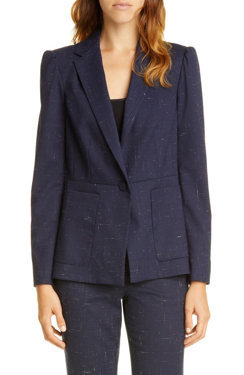 TAILORED BY REBECCA TAYLOR Puff Sleeve Crosshatched Wool Blend Jacket, Main, color, NAVY