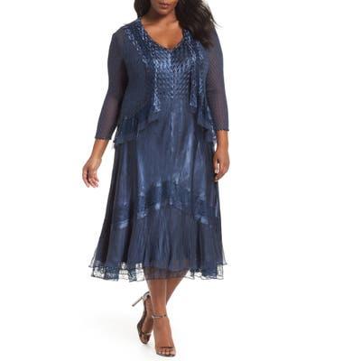 Plus Size Komarov V-Neck Midi Dress With Jacket, Blue