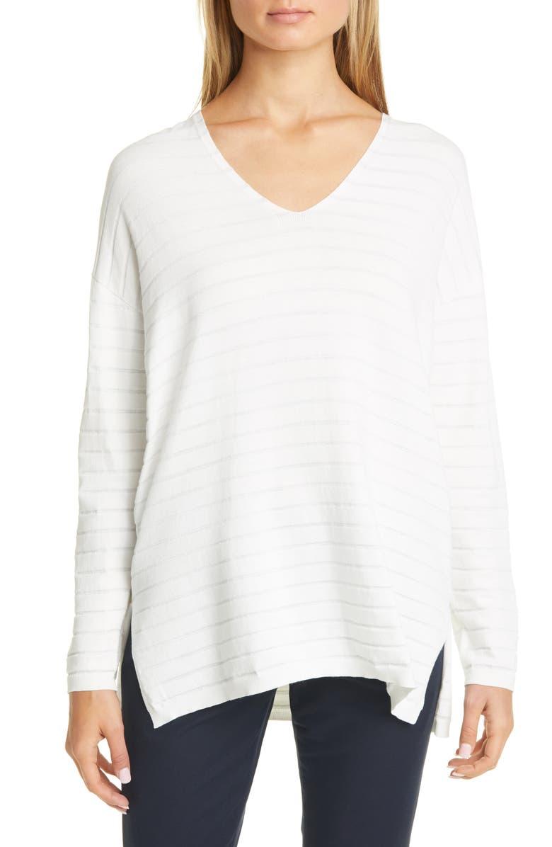 LAFAYETTE 148 NEW YORK Metallic Stripe Sweater, Main, color, CLOUD METALLIC