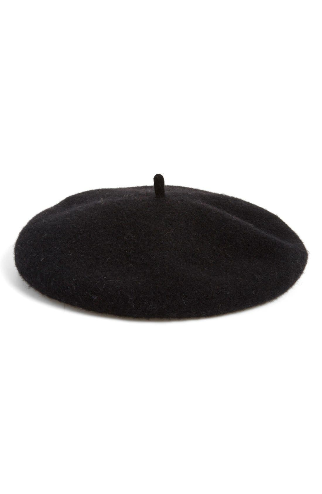,                             Wool Blend Beret,                             Main thumbnail 1, color,                             001