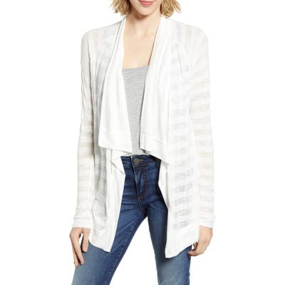 Petite Gibson X The Motherchic Travelers Drape Open Cardigan, Ivory