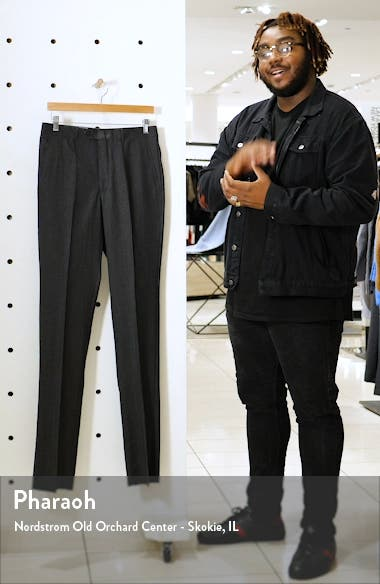 Flat Front Solid Stretch Wool Dress Pants, sales video thumbnail