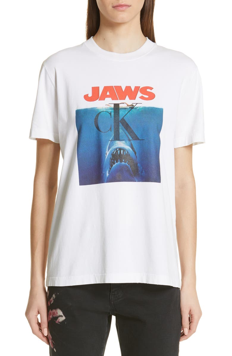 CALVIN KLEIN 205W39NYC 'Jaws' Graphic Tee, Main, color, 100