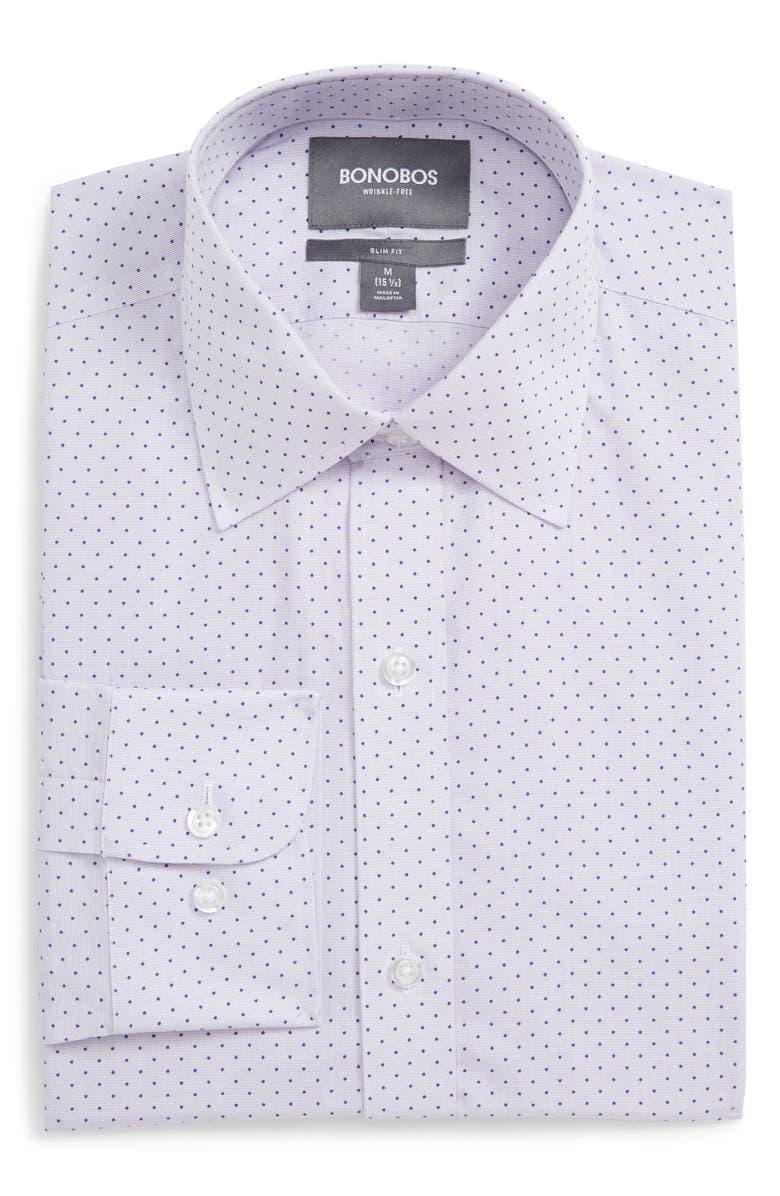 BONOBOS Slim Fit Dot Dress Shirt, Main, color, LAVENDER