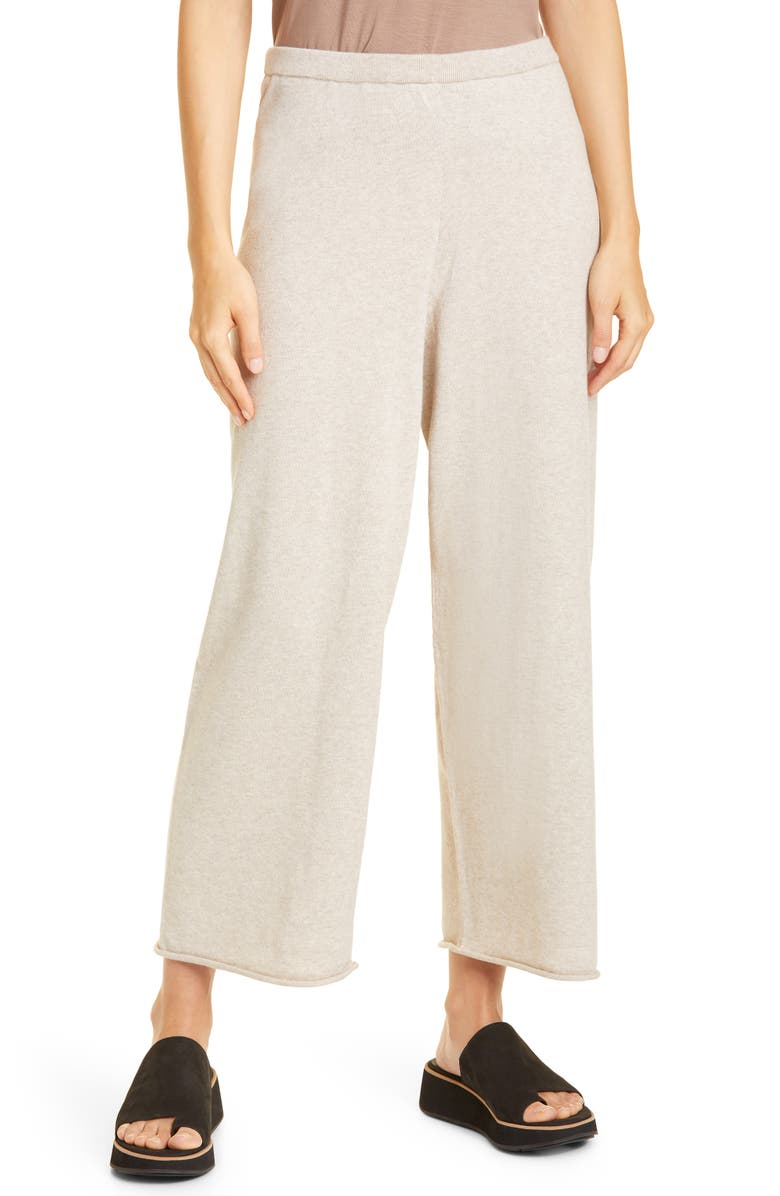 EILEEN FISHER Organic Cotton Wide Leg Ankle Pants, Main, color, MAPLE OAT