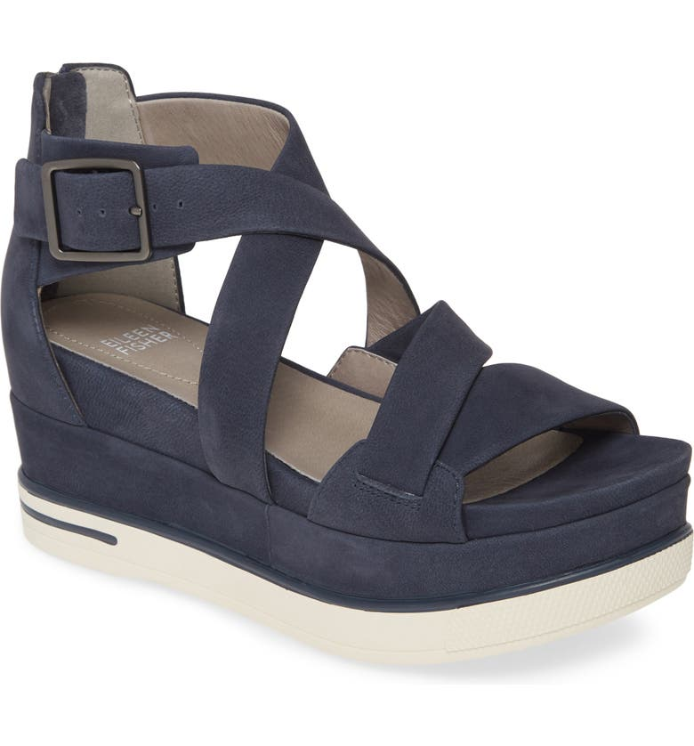 EILEEN FISHER Boost Wedge Sandal, Main, color, DENIM NUBUCK