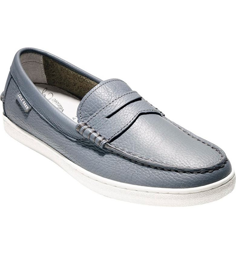 COLE HAAN 'Pinch' Penny Loafer, Main, color, GREY LEATHER/ WHITE