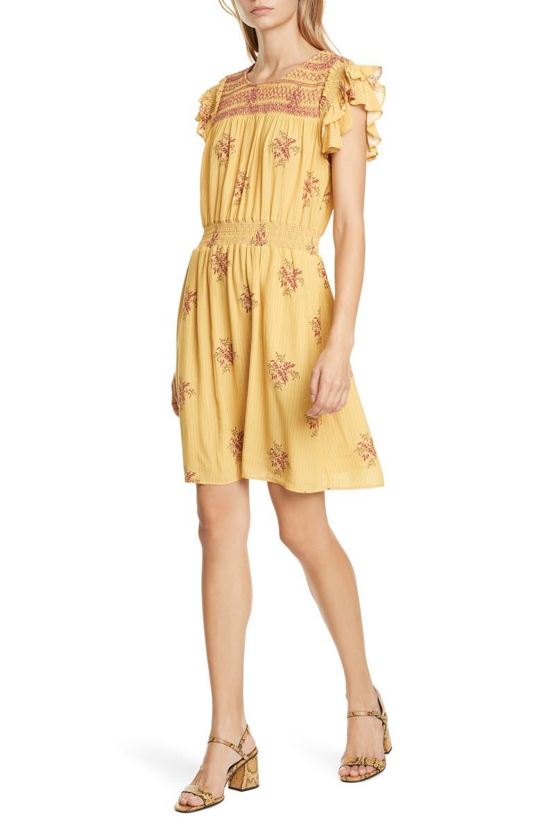 DOLAN Palmer Flutter Sleeve Crepe Dress, Main, color, GOLD LINE FLORAL