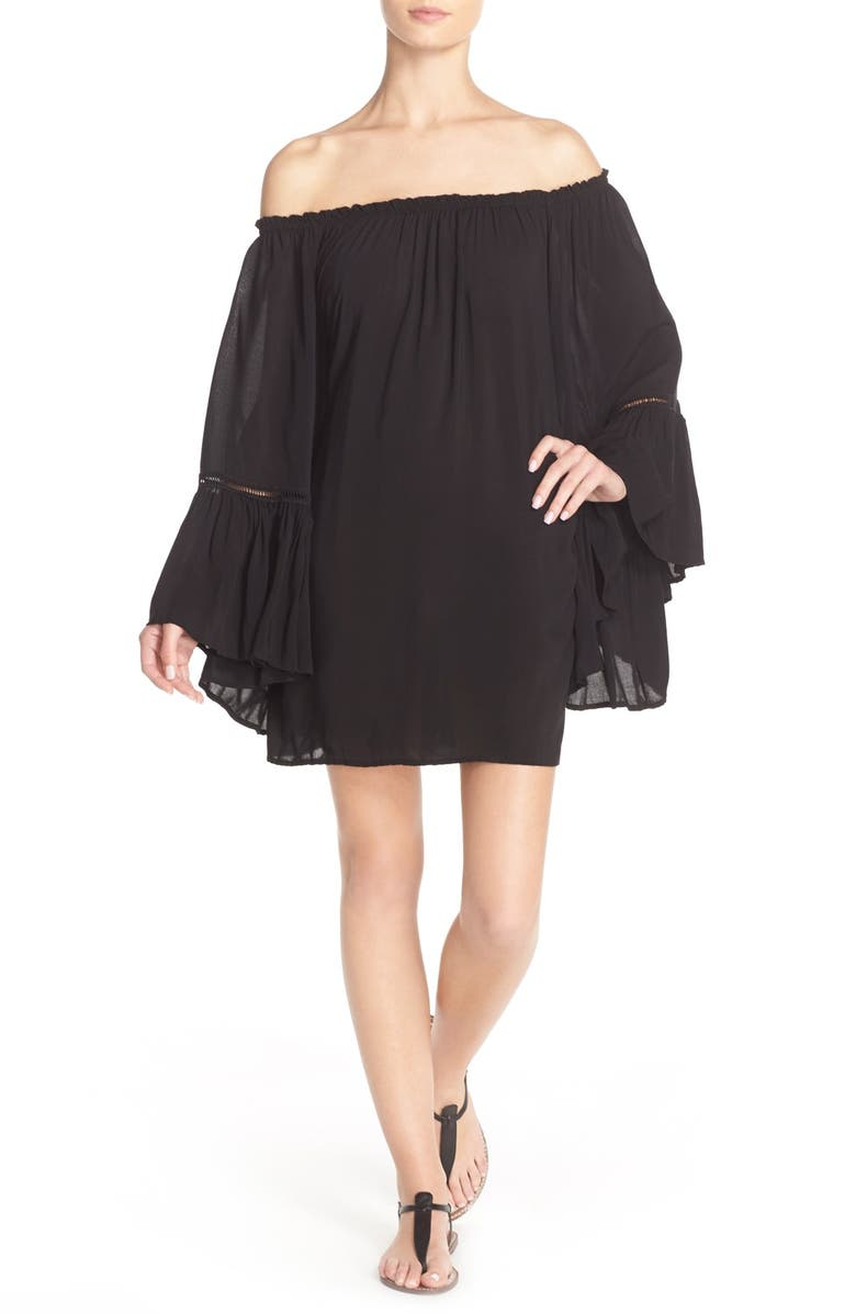 ELAN Off the Shoulder Bell Sleeve Cover-Up Tunic, Main, color, 001