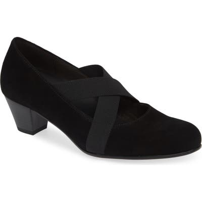Gabor Cross Strap Pump- Black