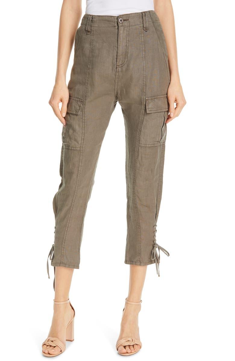 JOIE Telutci Tie Cuff Linen Cargo Pants, Main, color, FATIGUE