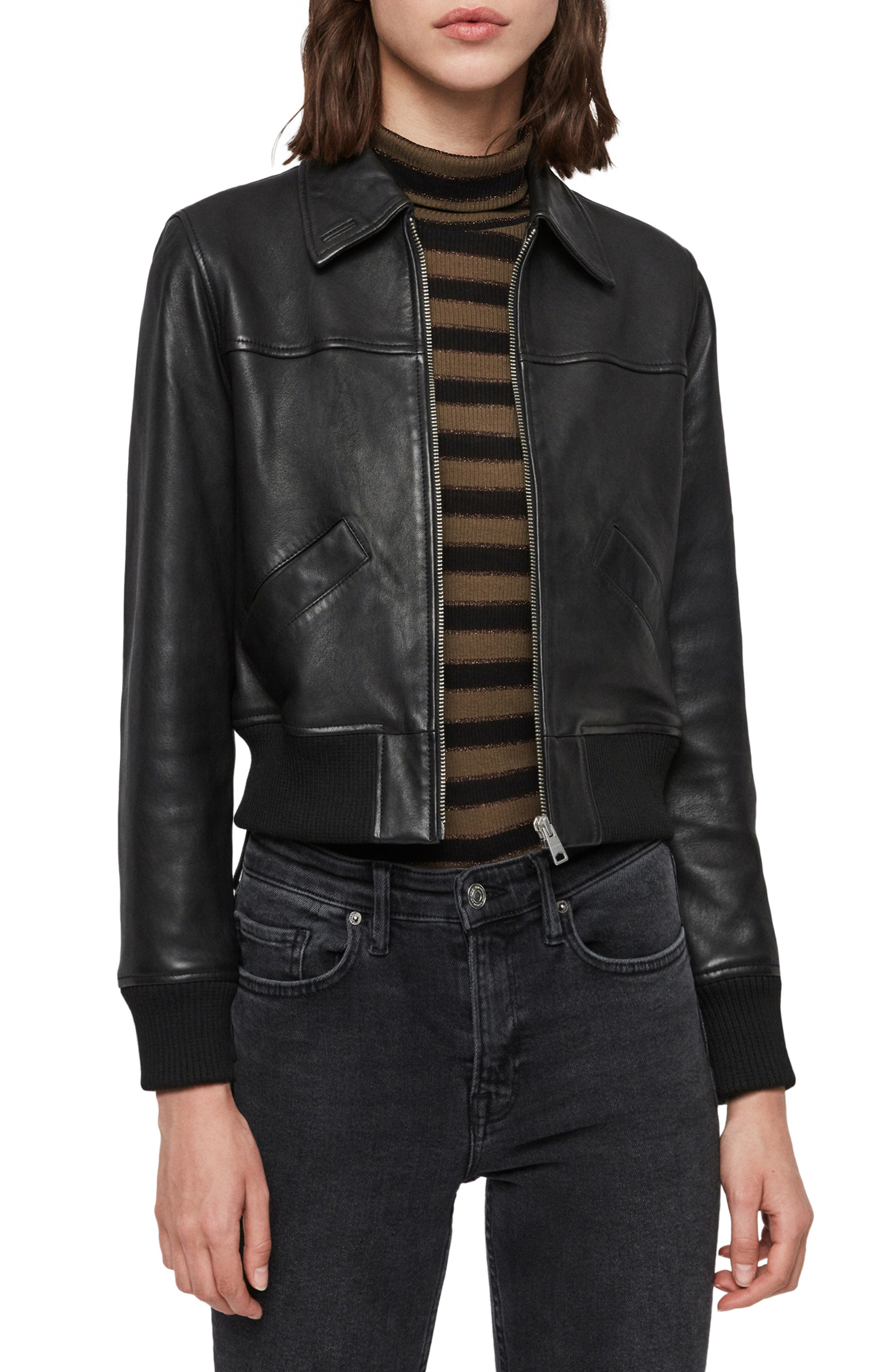Allsaints Coats Pascao Lambskin Leather Bomber
