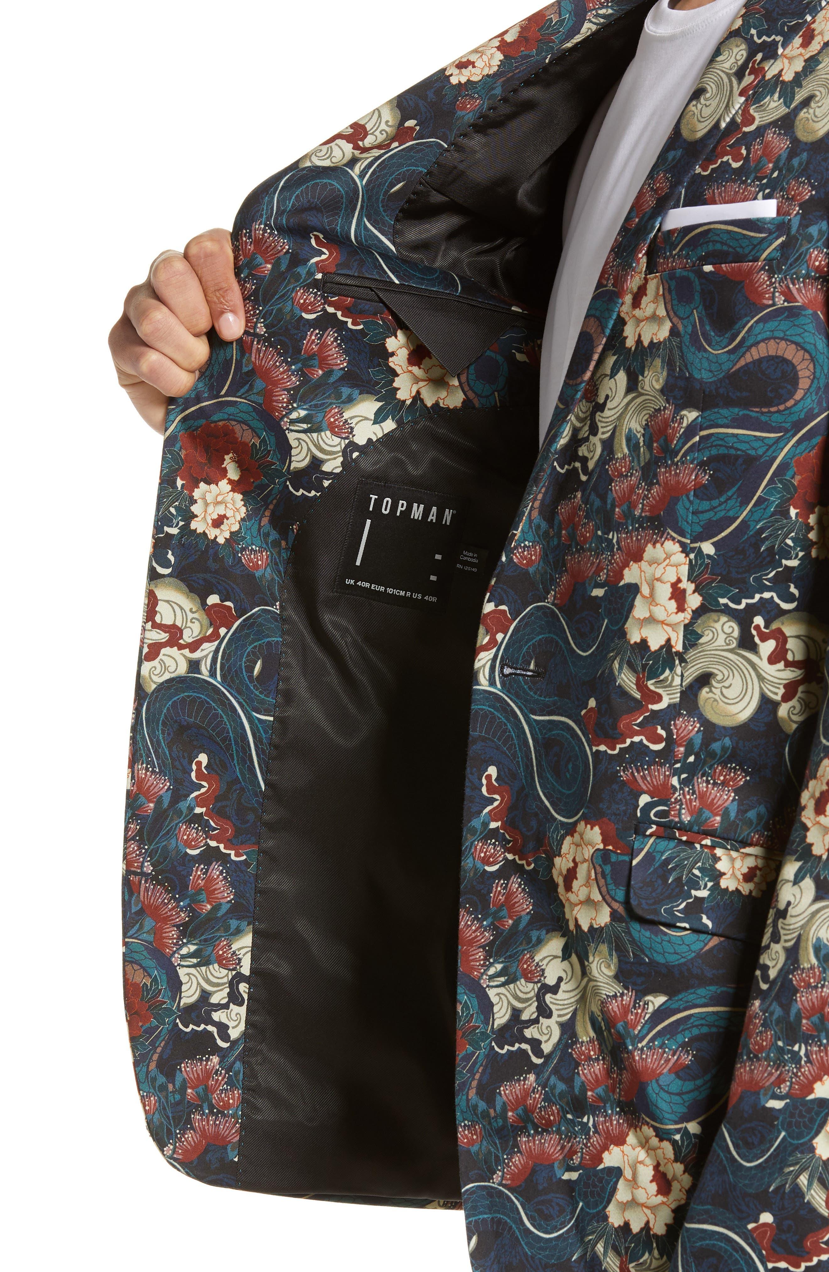 ,                             Skinny Fit Japan Print Suit Jacket,                             Alternate thumbnail 4, color,                             BLACK
