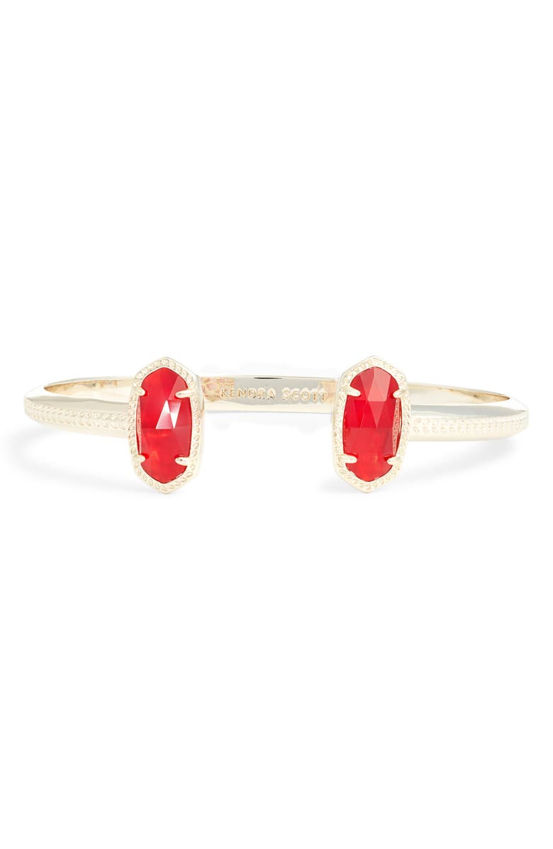 KENDRA SCOTT Elton Station Cuff Bracelet, Main, color, GOLD/ CHERRY RED ILLUSION