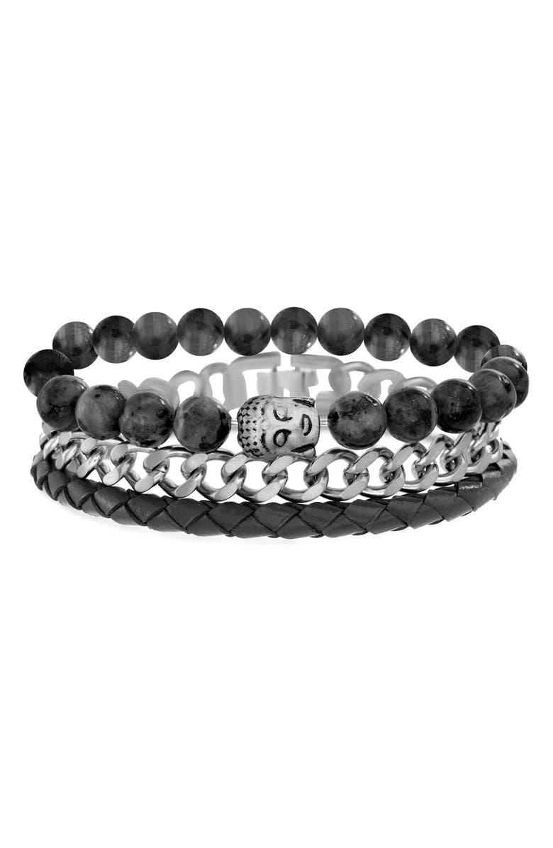 STEVE MADDEN 3-Piece Bracelet Set, Main, color, 001