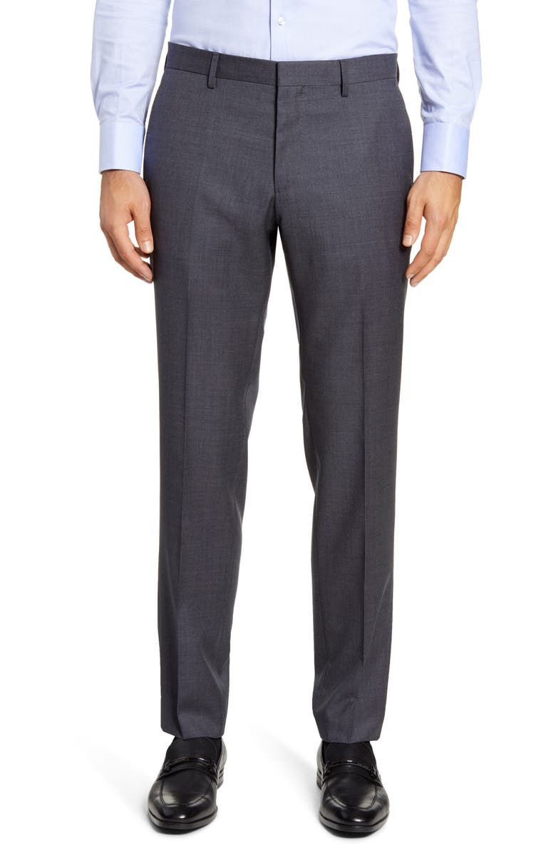 BOSS Genesis Flat Front Houndstooth Wool Dress Pants, Main, color, CHARCOAL