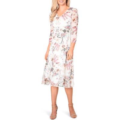 Petite Komarov Floral Chiffon Midi Dress, Ivory