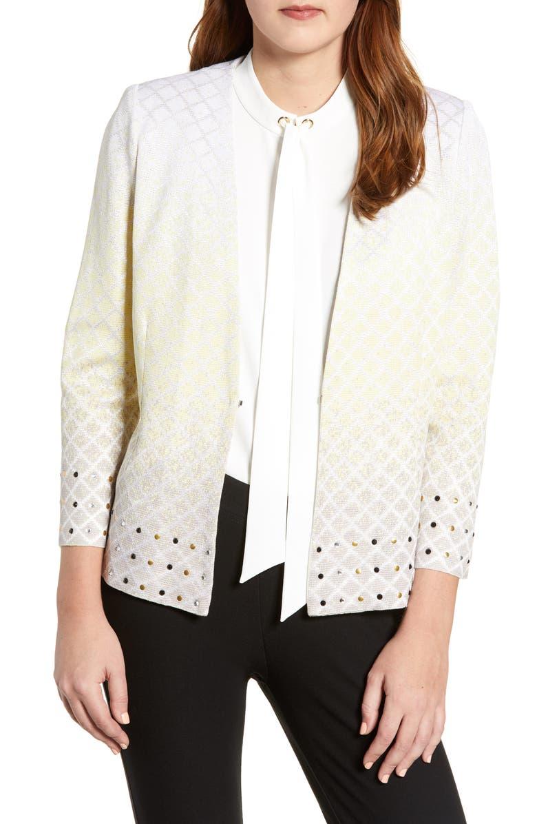 MING WANG Studded Jacquard Jacket, Main, color, 742